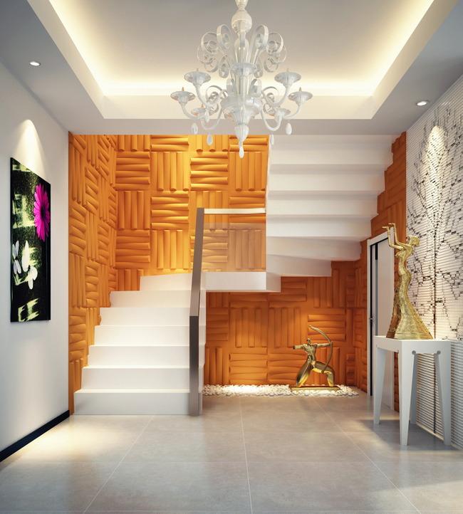 3d楼梯间背景墙波浪板