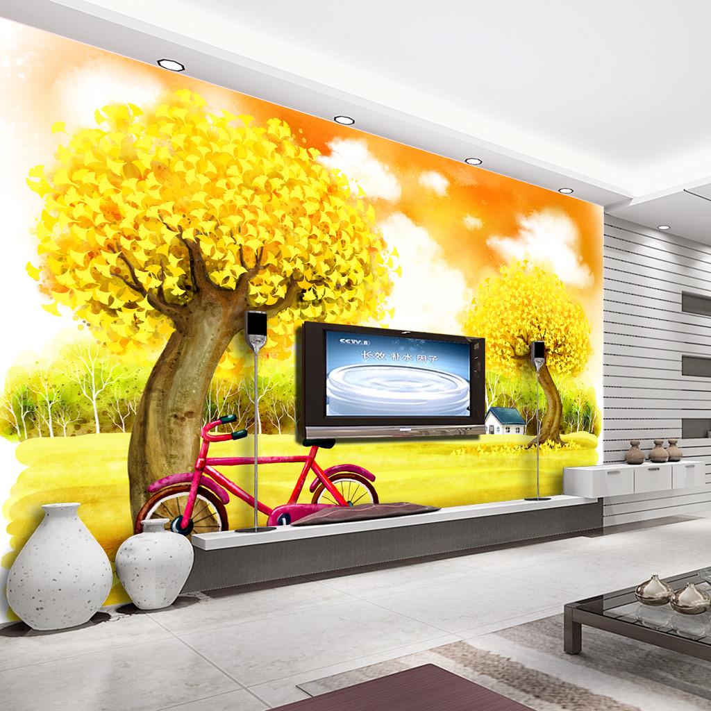 背景墙|装饰画 电视背景墙 手绘电视背景墙 > 梦幻田园金色满园电视