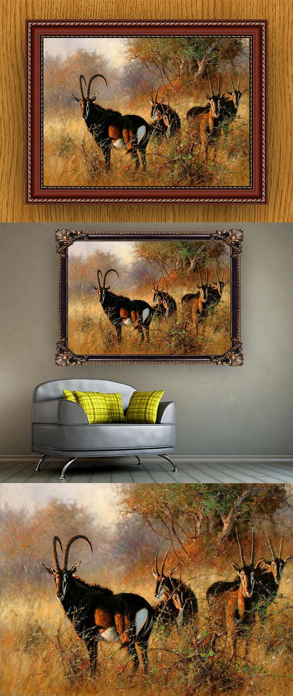 高清手绘现代写实风格羚羊风景油画