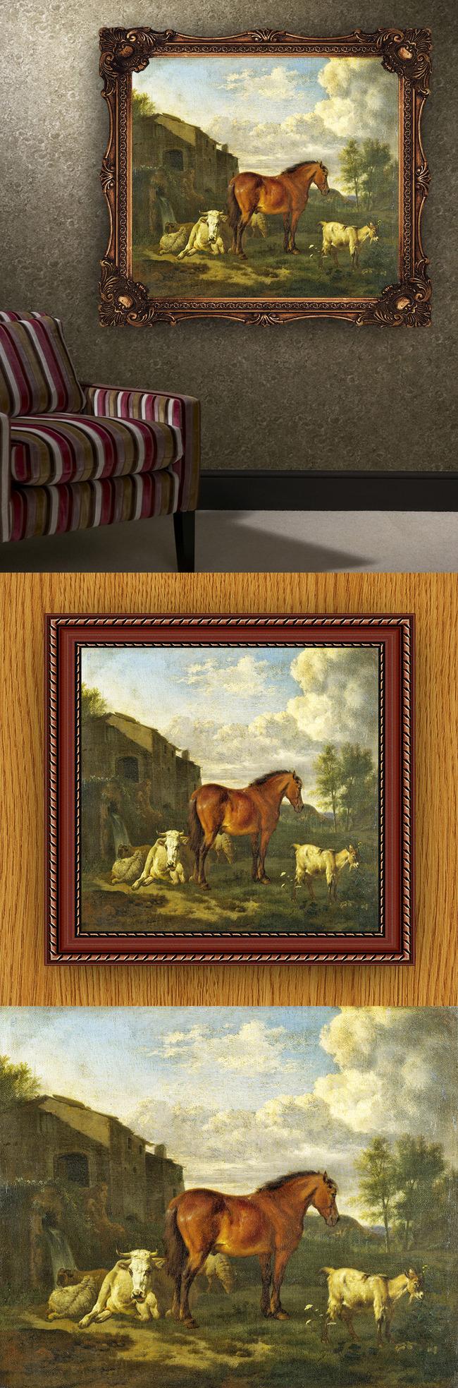 高清手绘古典传统写实风格人物风景油画