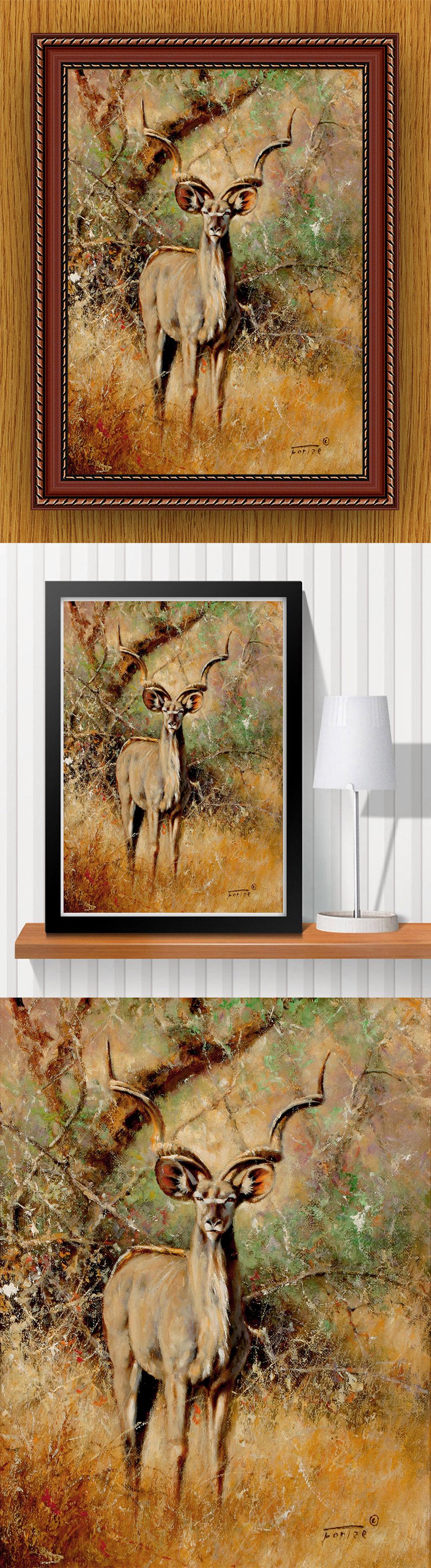 高清手绘现代写实风格草原麋鹿风景油画
