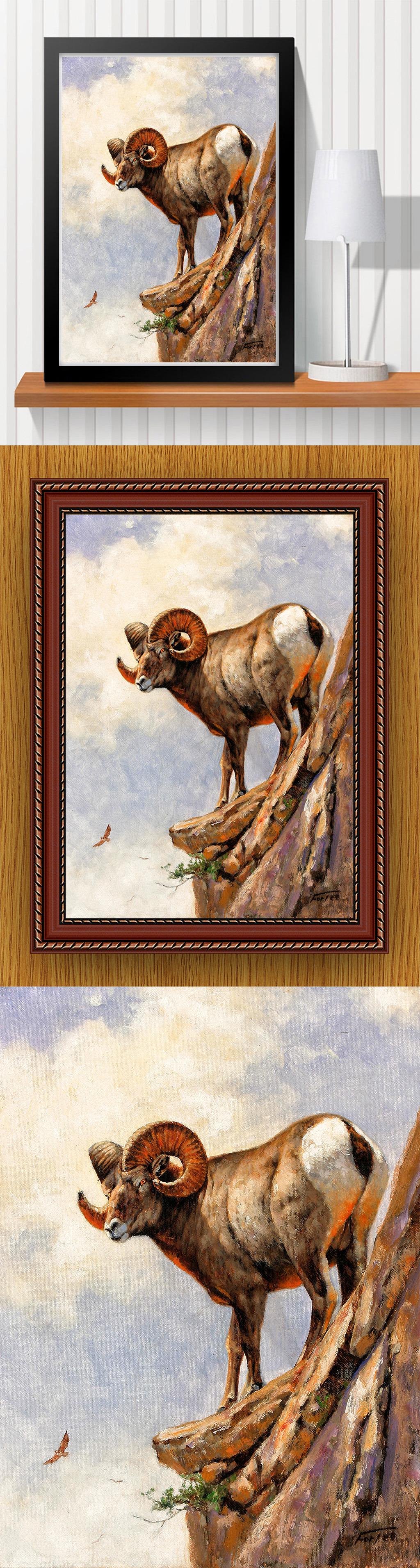 高清手绘现代写实风格山峰山崖风景油画