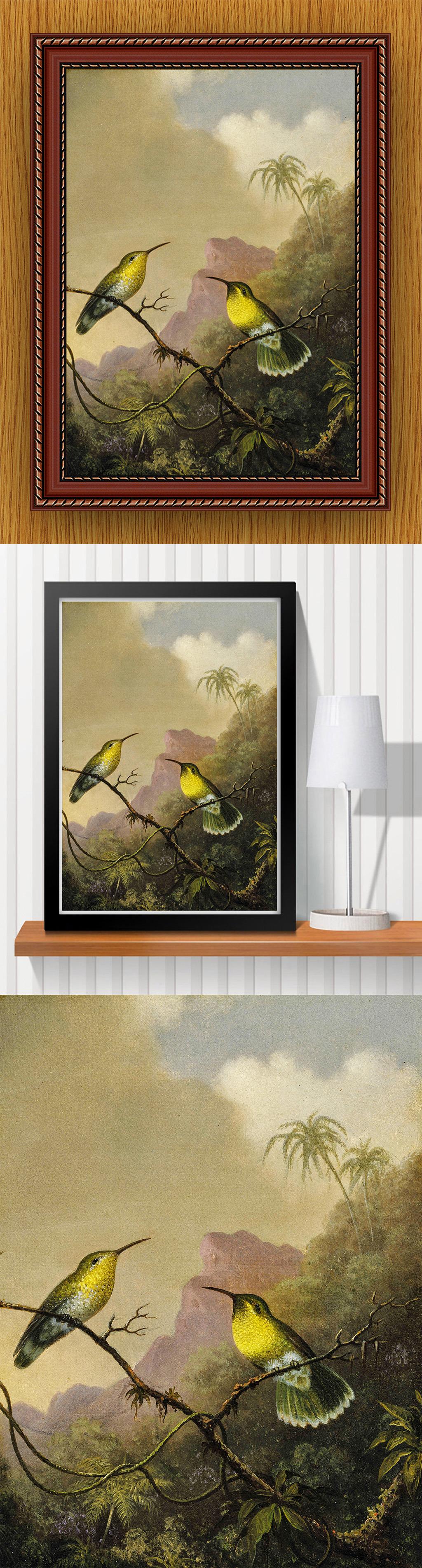 高清手绘现代写实风格小鸟风景油画