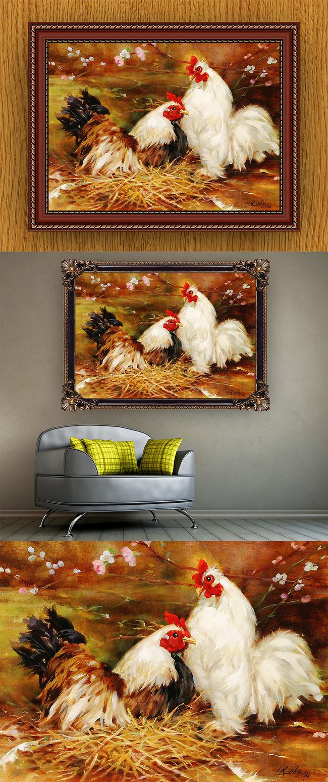 高清手绘现代写实风格动物鸡风景油画