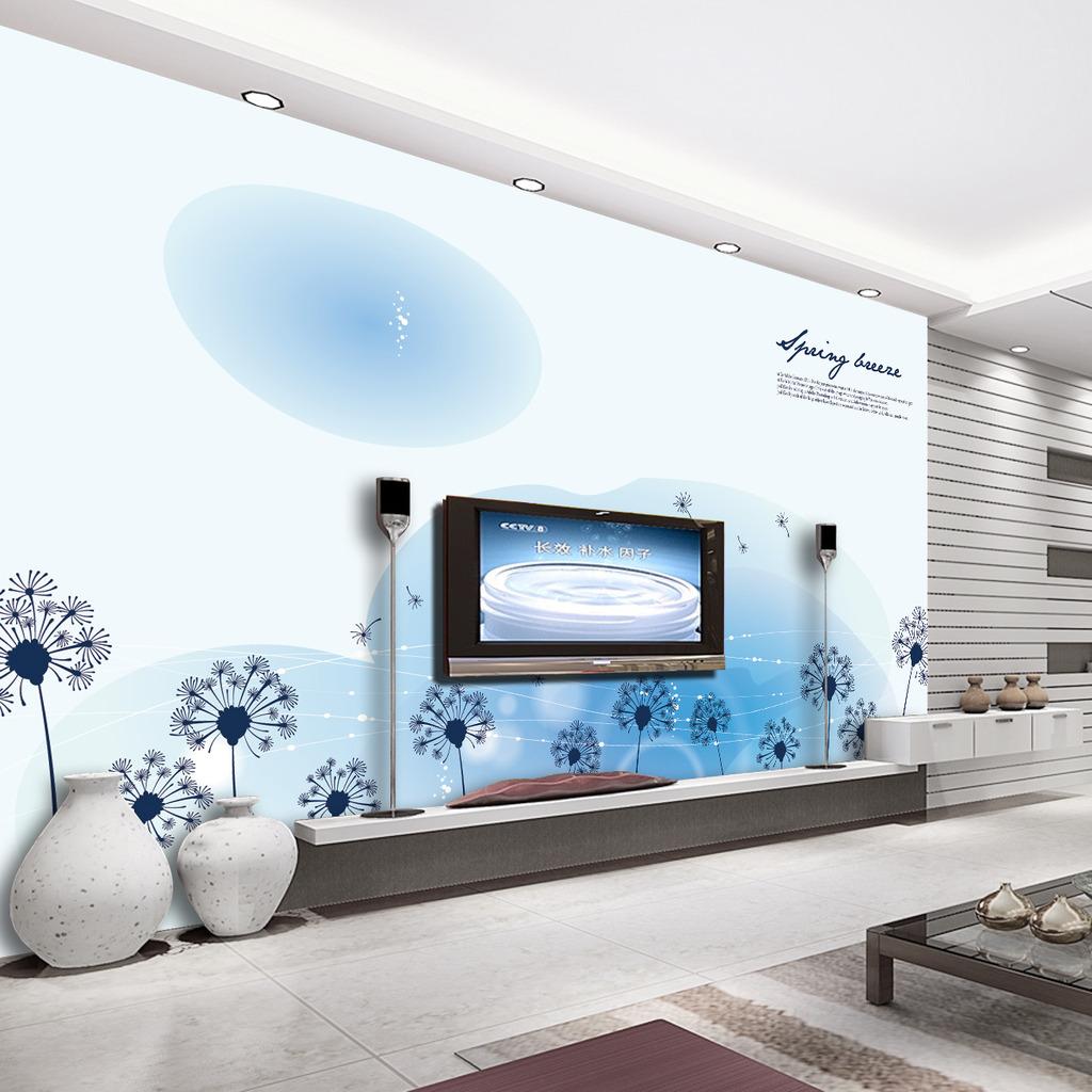 简约梦幻蒲公英电视墙背景图片