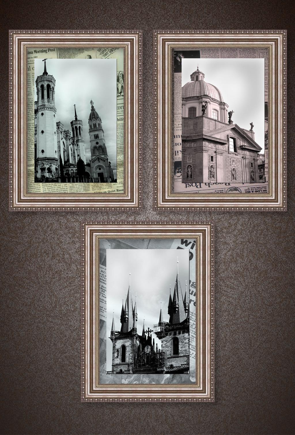 欧式城堡复古风三联挂画装饰画图片