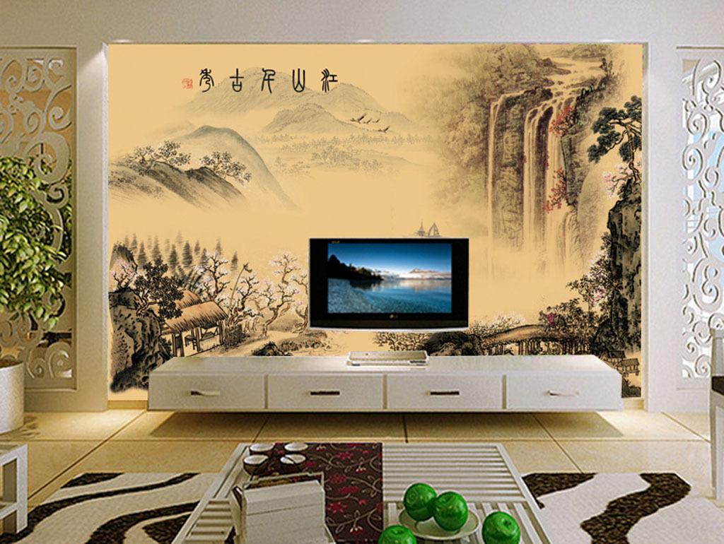 国画山水电视背景墙壁画