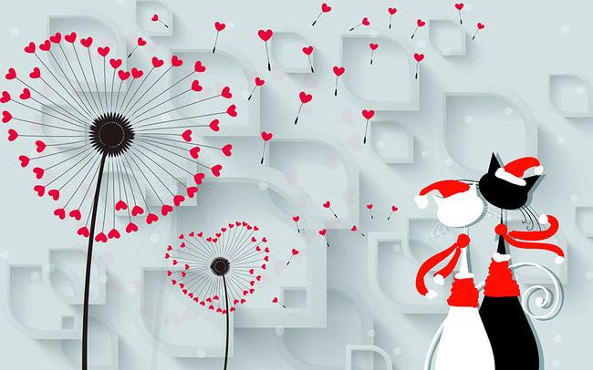 壁画 墙纸 壁纸 3d背景 立体 蒲公英 现代 简约 电视墙 情侣猫咪 浪漫
