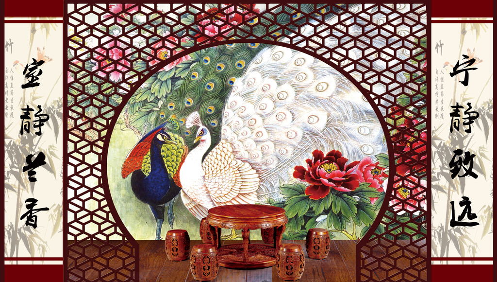 形象墙背景墙图孔雀牡丹高清图片下载(图片编号)形象