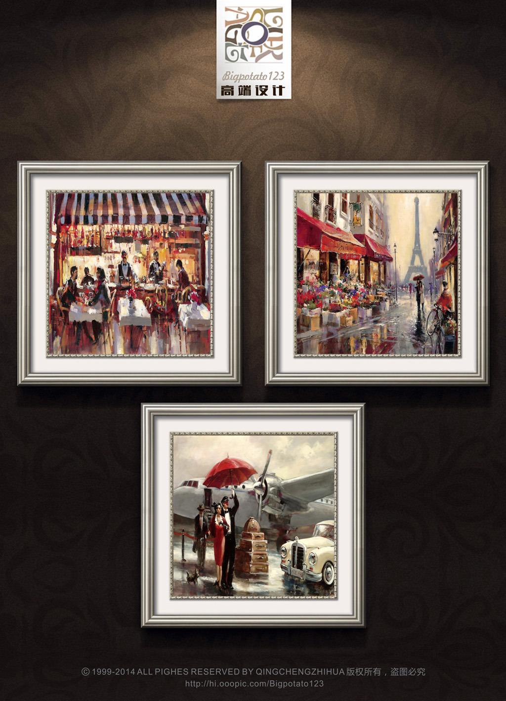 美式复古街景咖啡厅装饰画图片