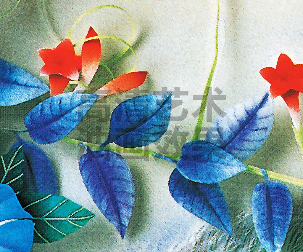 清新淡雅手绘花朵玄关背景墙