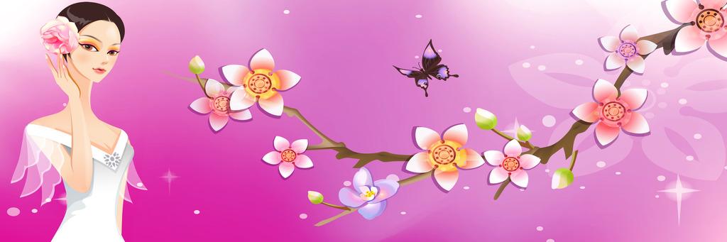 卡通人物玉兰花装饰画