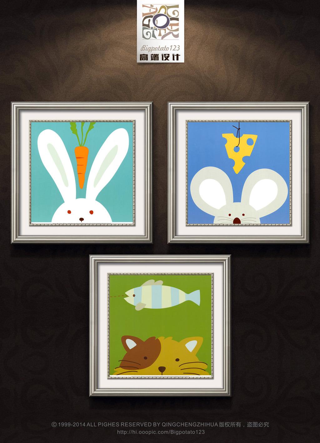 可爱动物头像儿童装饰画