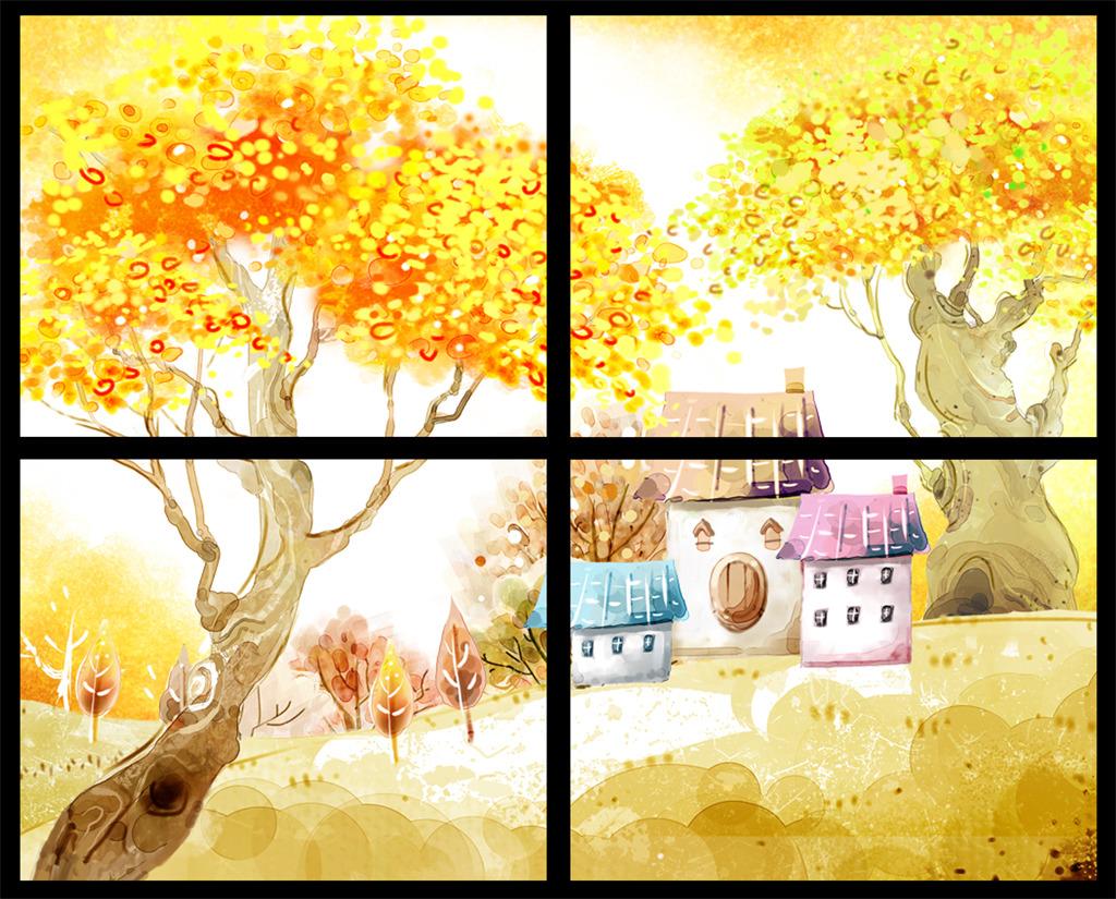 秋天风景无框画