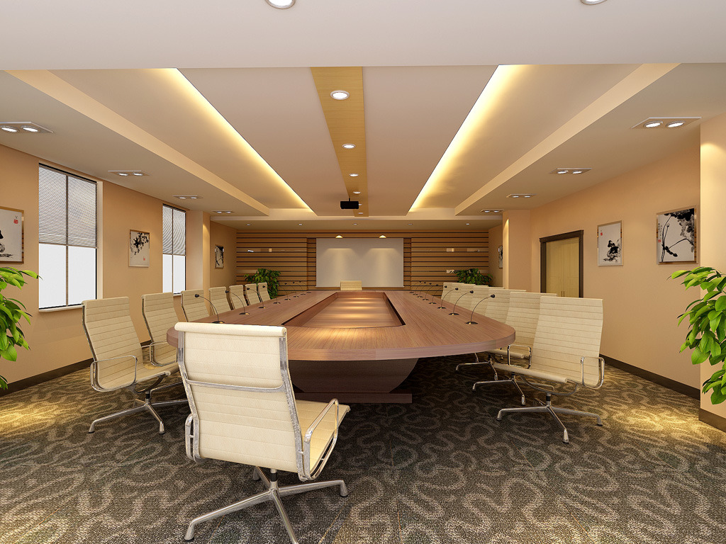 大型会议室3d室内装修效果图