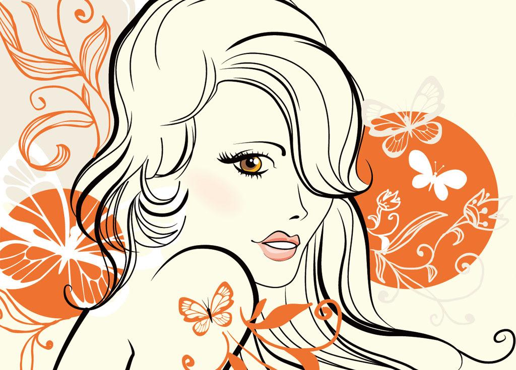卡通古代美女 线描