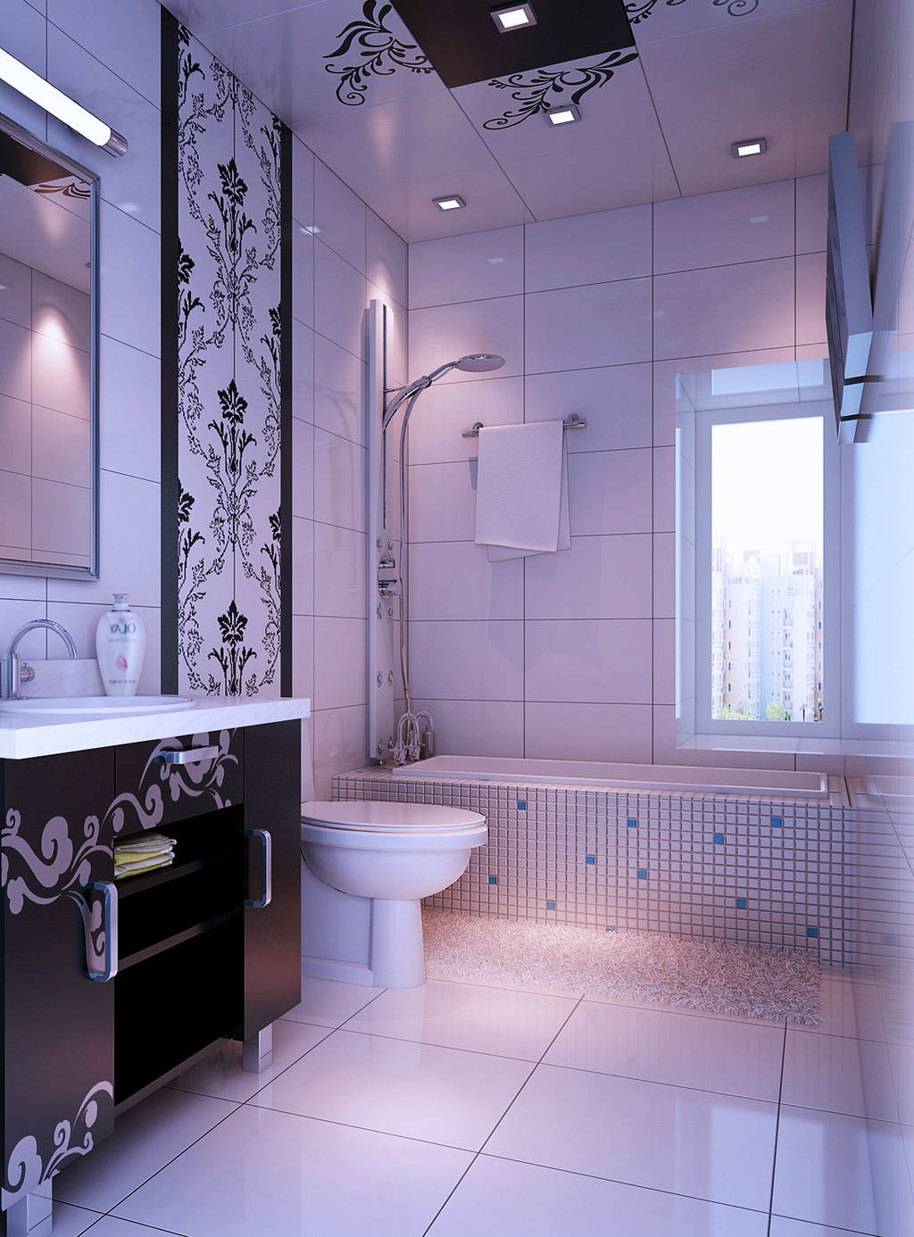 洗手间设计 模型下载 帖砖设计