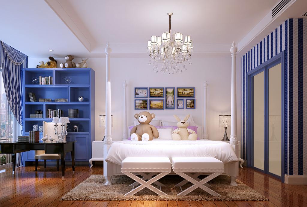 经典深蓝色房间设计模板下载(图片编号:12594762)__3d