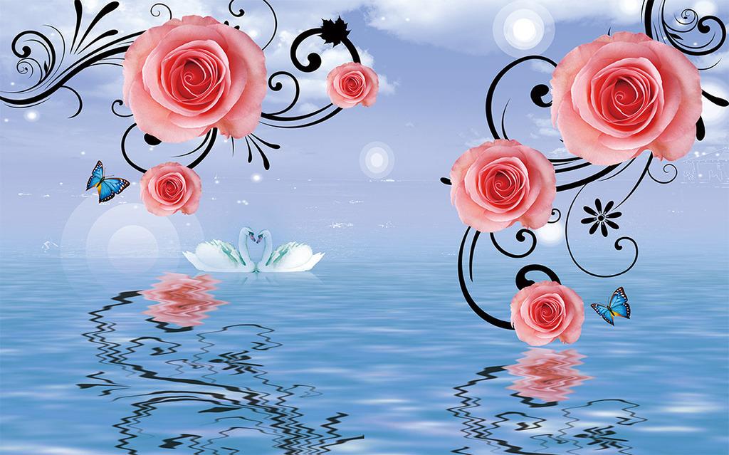 水中玫瑰花电视背景墙装饰画