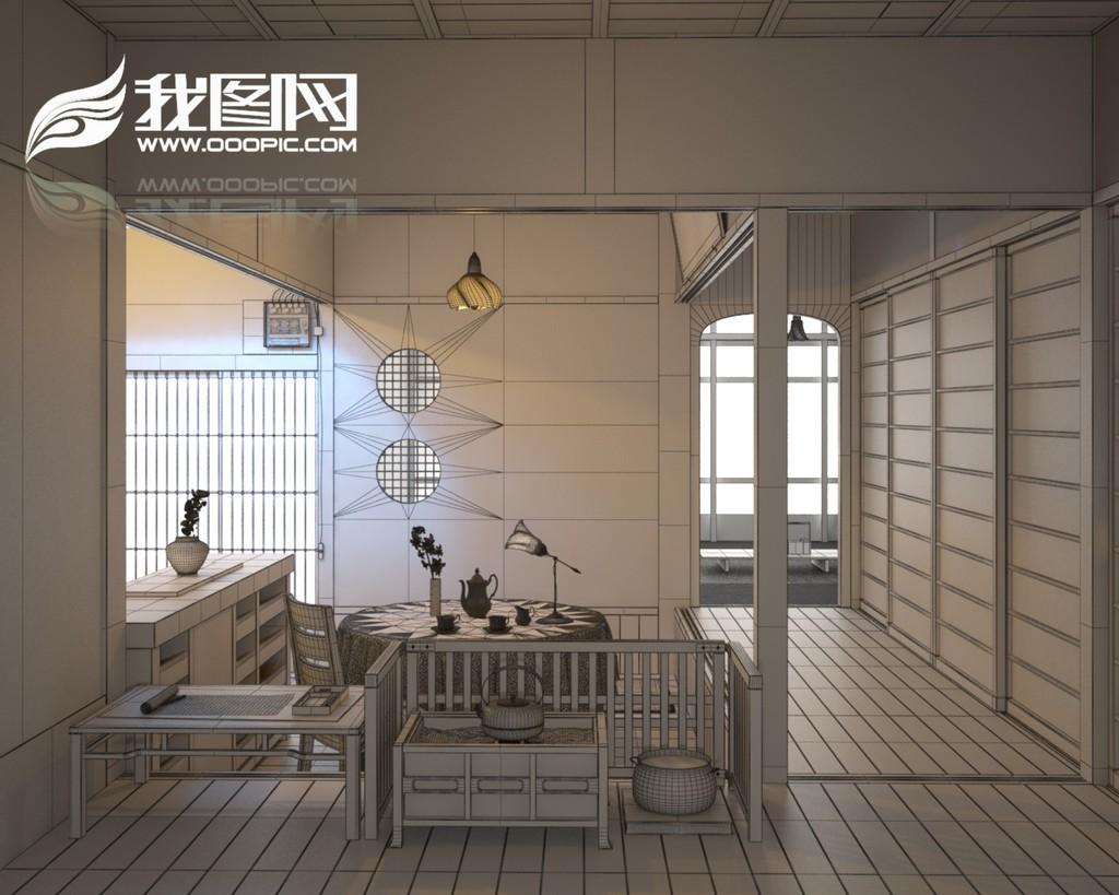 3d模型 室内设计3d模型 家装模型 > 中式简约餐厅日式韩式风格简约图片