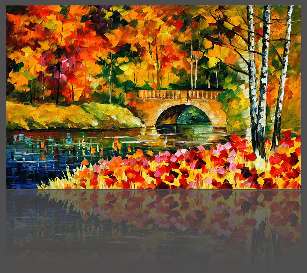 岸边红叶林欧式油画背景墙高清图片下载(图片编号)|