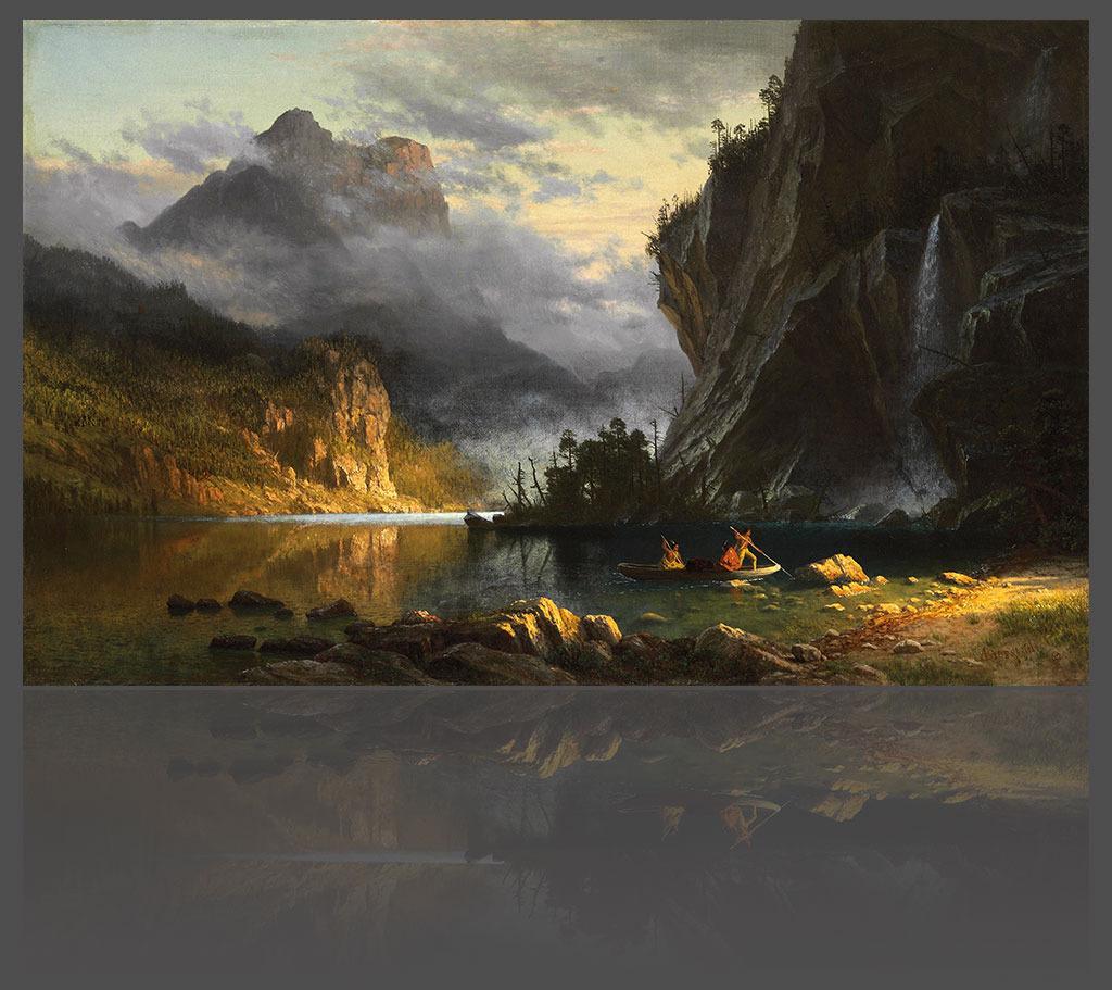 峡谷溪流西部风景欧式油画背景墙高清图片下载