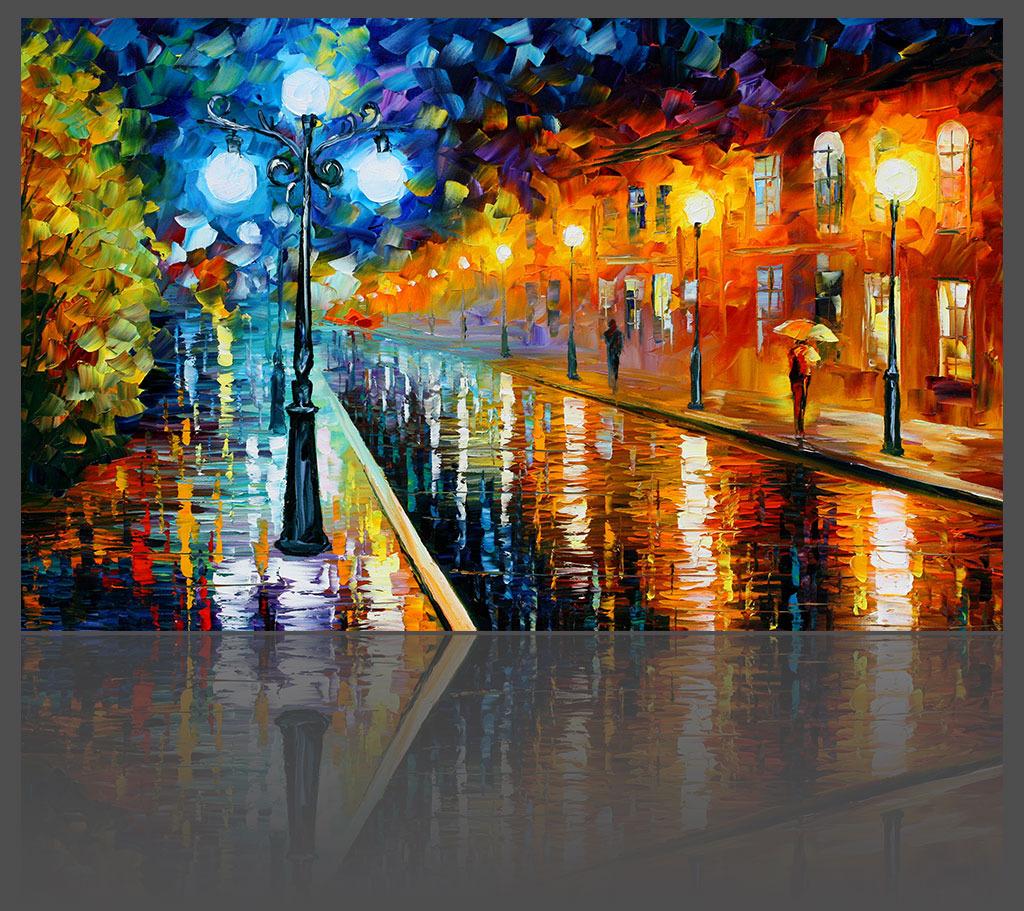 城市雨夜欧式油画背景墙