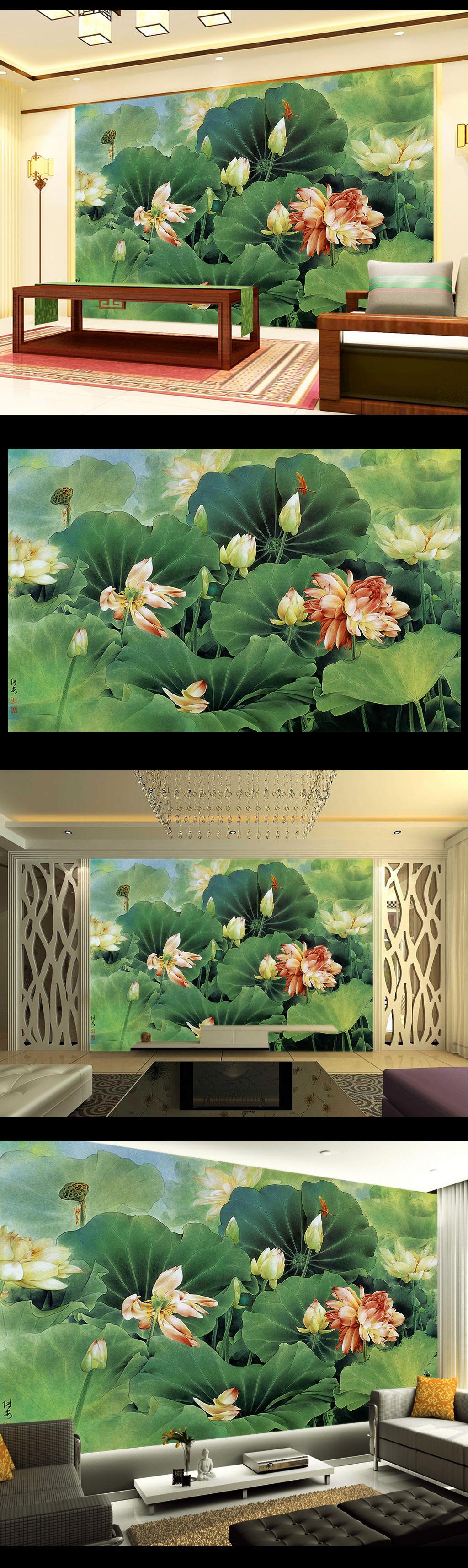 唯美手绘油画荷塘荷花电视背景墙