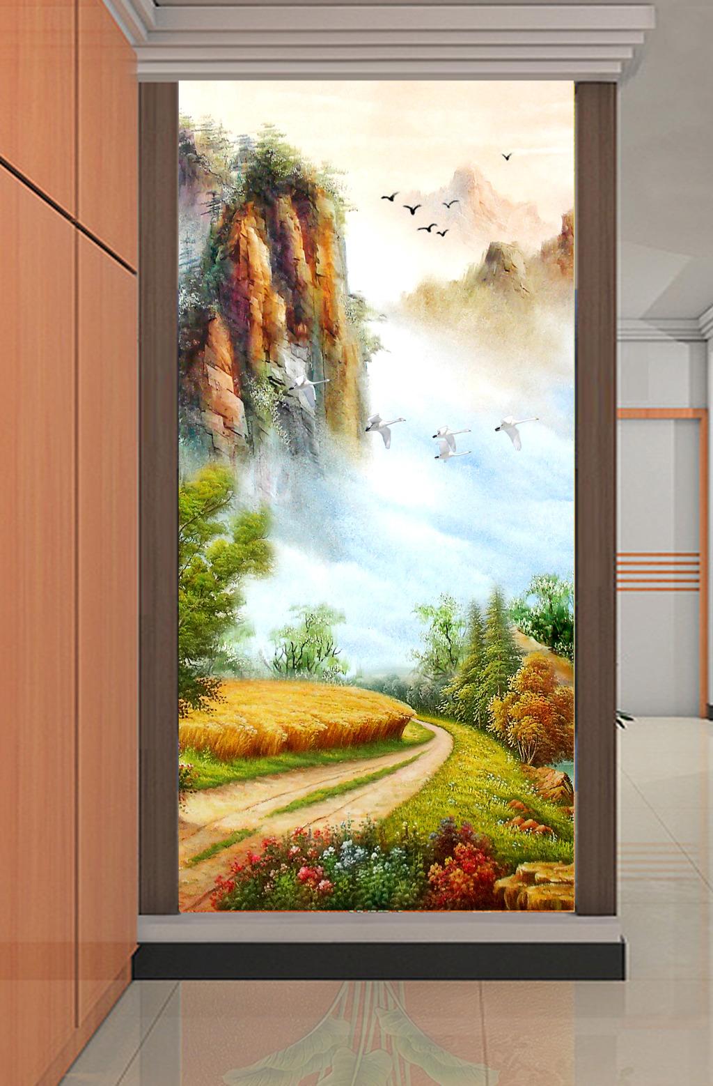 背景墙 装饰画 玄关 山水花鸟玄关图 > 欧式油画山水风景画远山高山