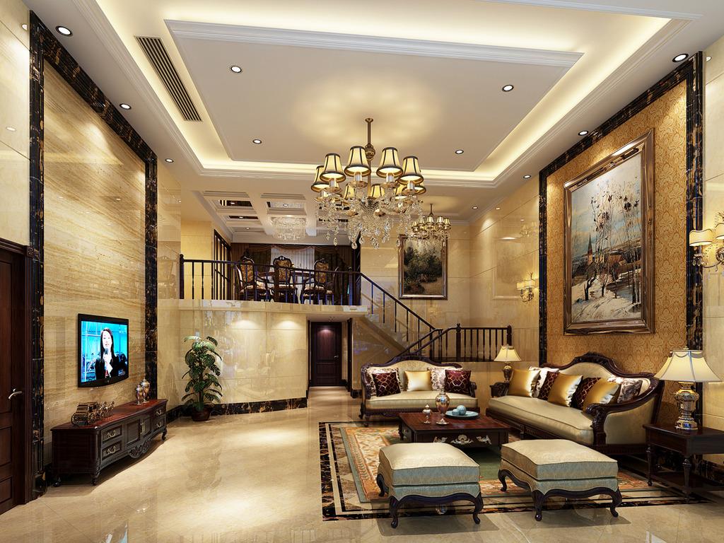 精品欧式风格客厅3d模型