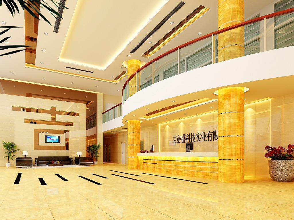 公司前台大厅装修效果图3d模型
