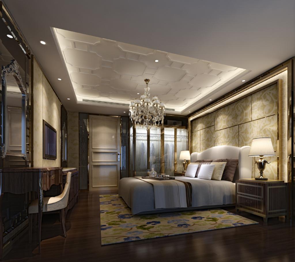 模型素材图片下载 3dmax欧式卧室硬包背景墙欧式镜子