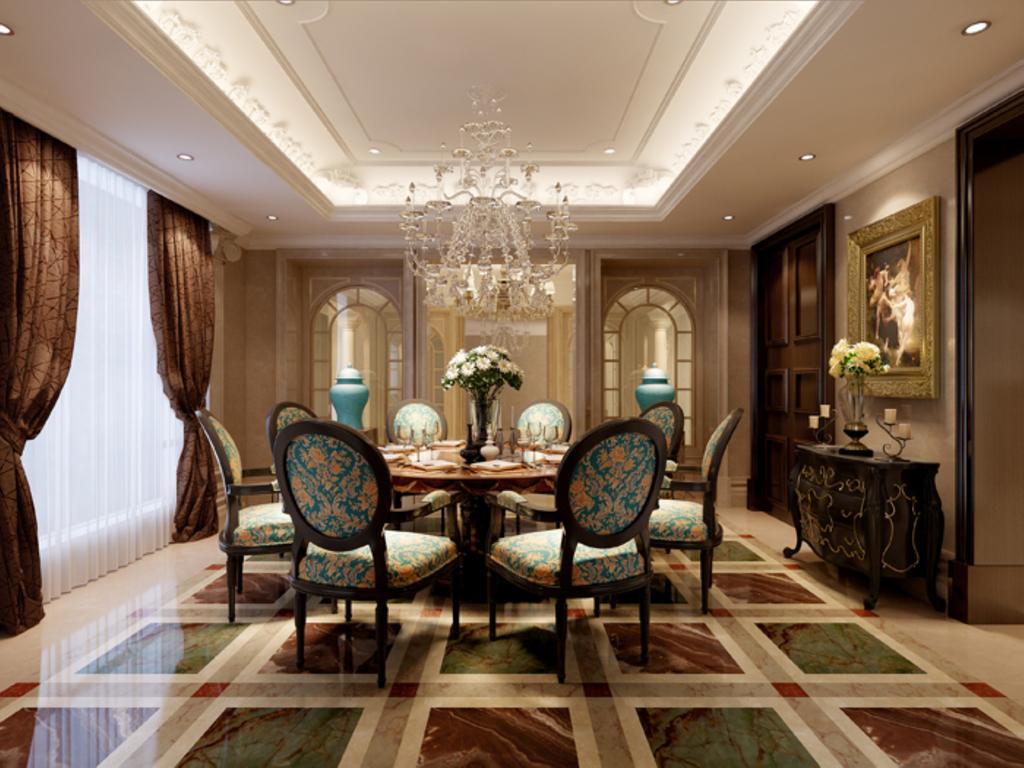 3dmax欧式客厅回字吊顶水晶灯深色木门深色地砖透明图片