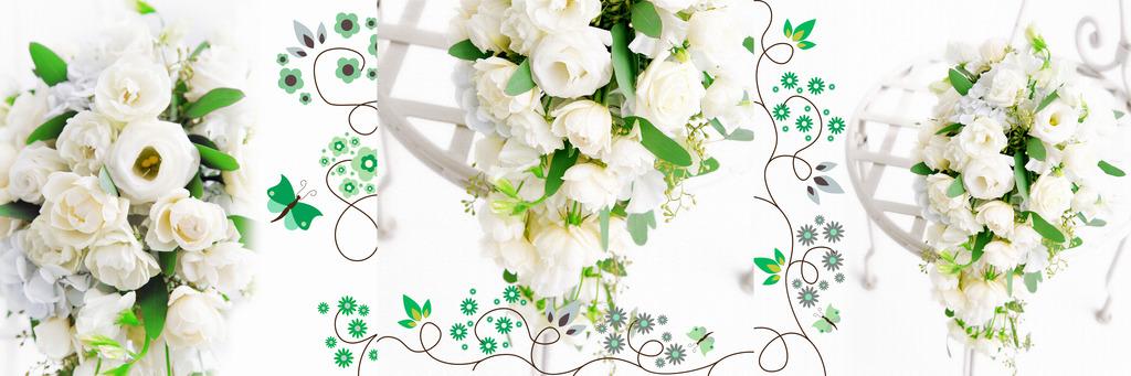 白色简约花卉无框画