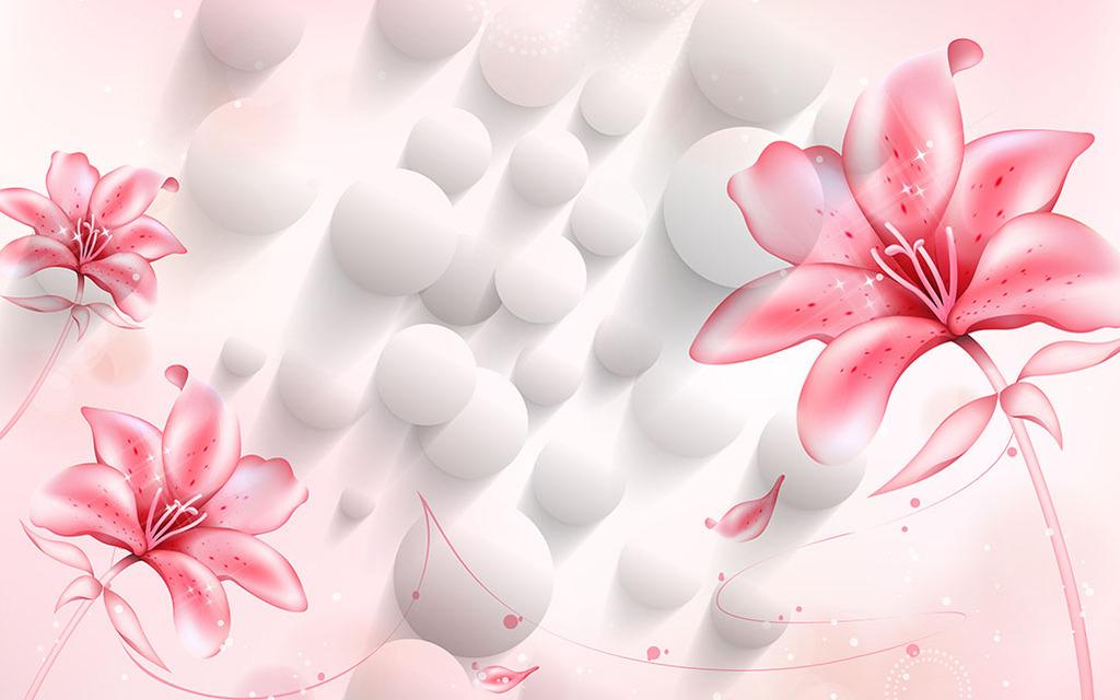 3d立体壁画粉色水晶花