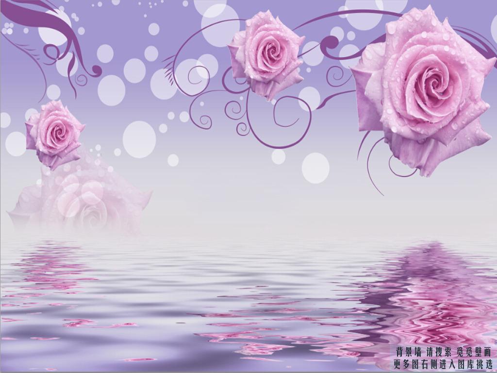 现代简约玫瑰花纹觅觅壁画高清图片下载(图片编号)墙