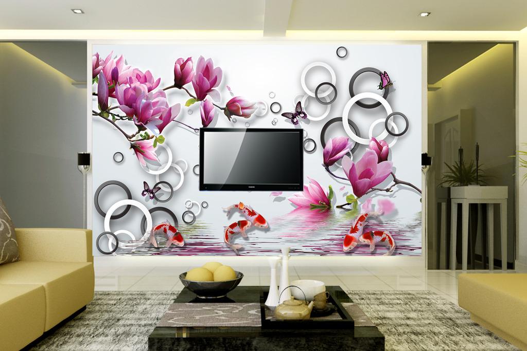 现代玉兰花3d立体电视背景墙