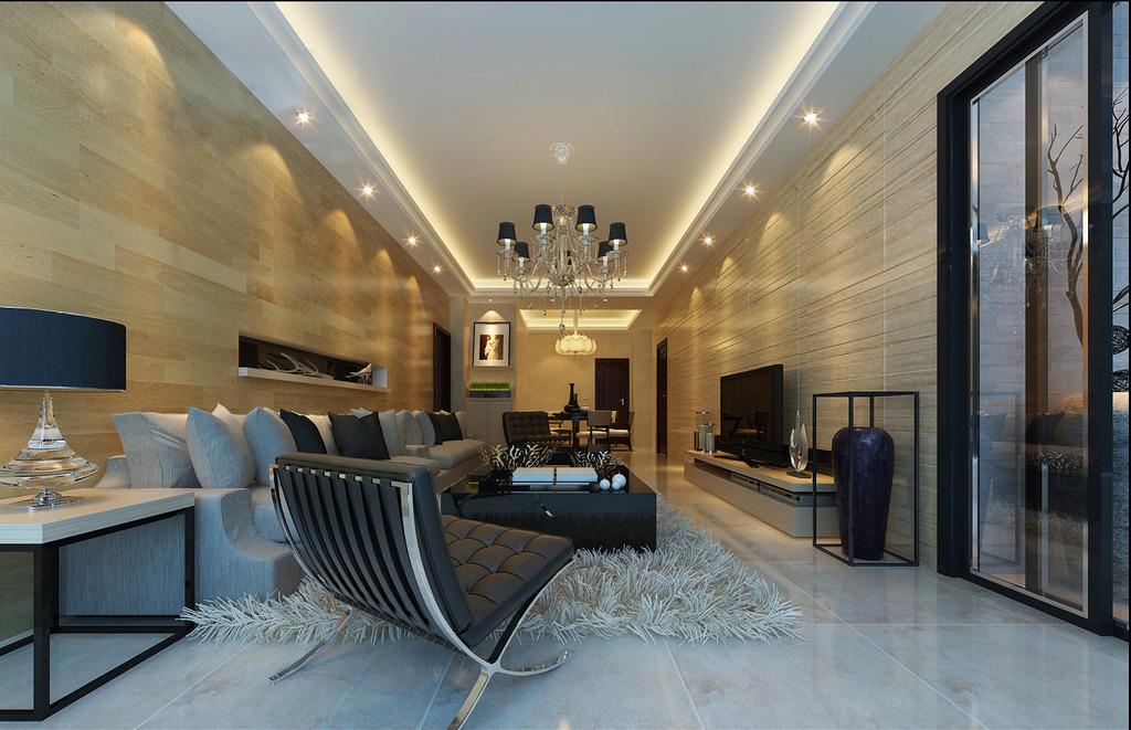 现代别墅式客厅3d模型方案图片下载
