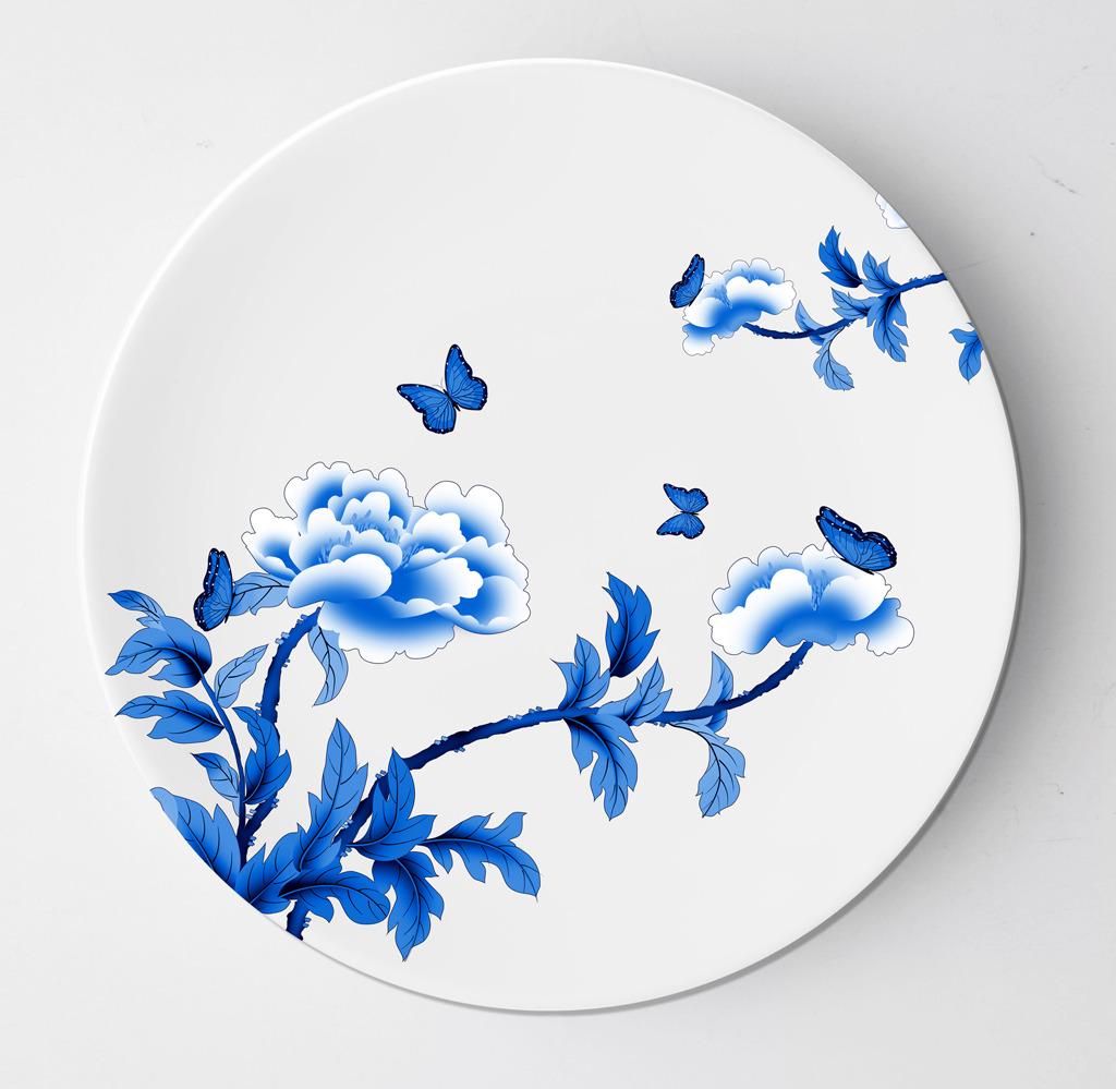 传统 花边 花纹 青花瓷花纹 青花瓷盘子 青花瓷盘子设计 盘子设计
