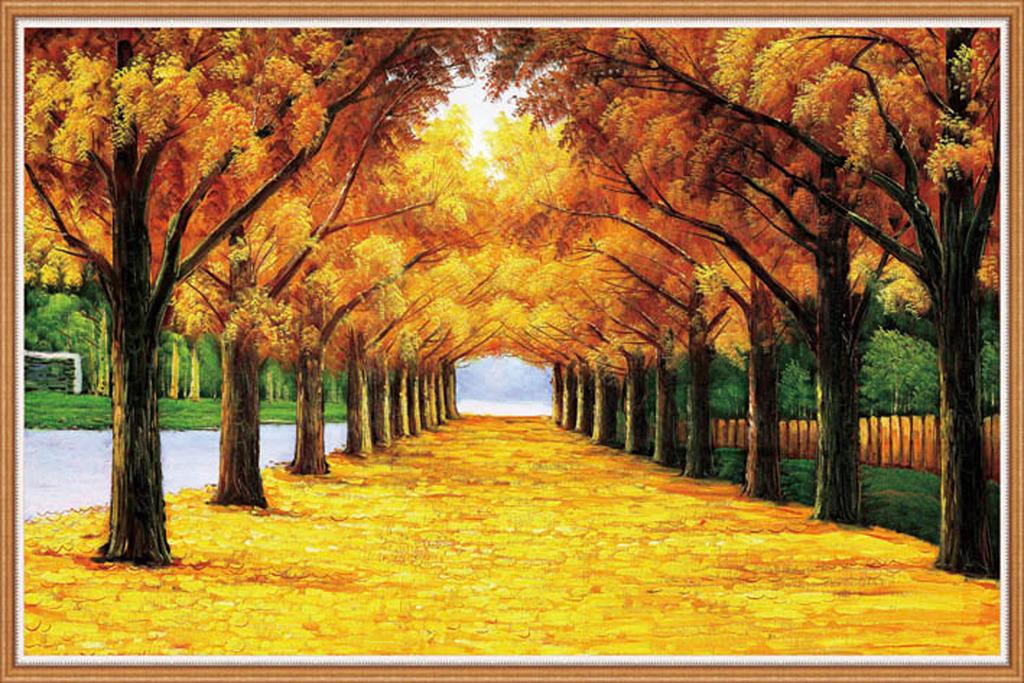 彩铅树林风景画步骤图