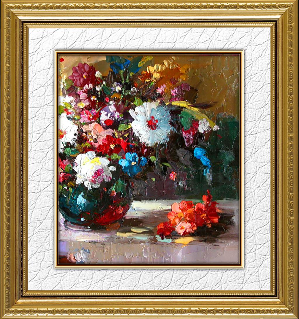 花卉油画 宫廷油画 画框 写实油画原稿 绘画 绘画书法 油彩 色彩