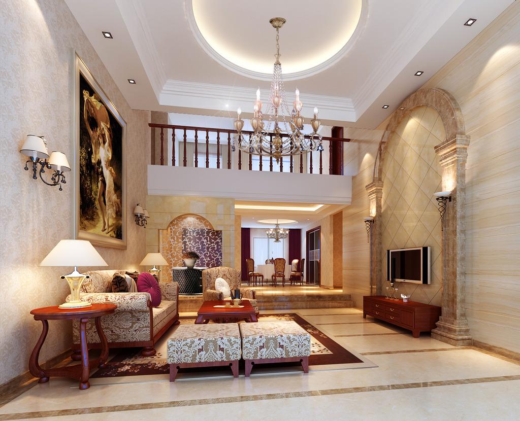 豪华客厅设计 3d效果图 欧式客厅 西式客厅 电视墙设计 装修效果图图片