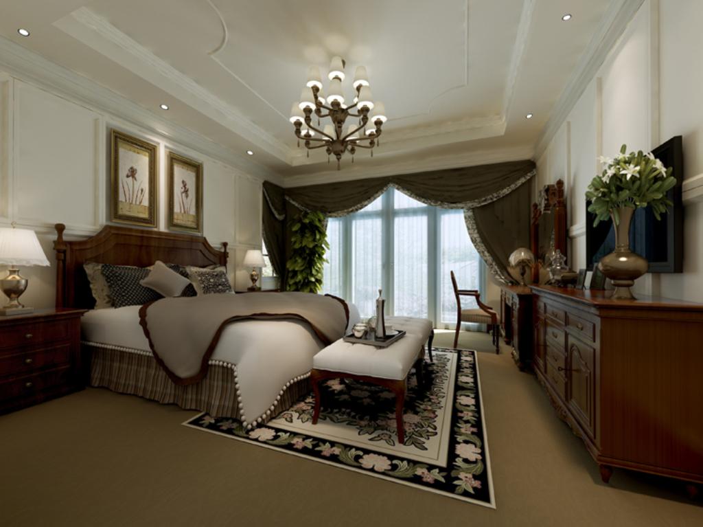 3dmax欧式风格卧室模型素材图片下载图片