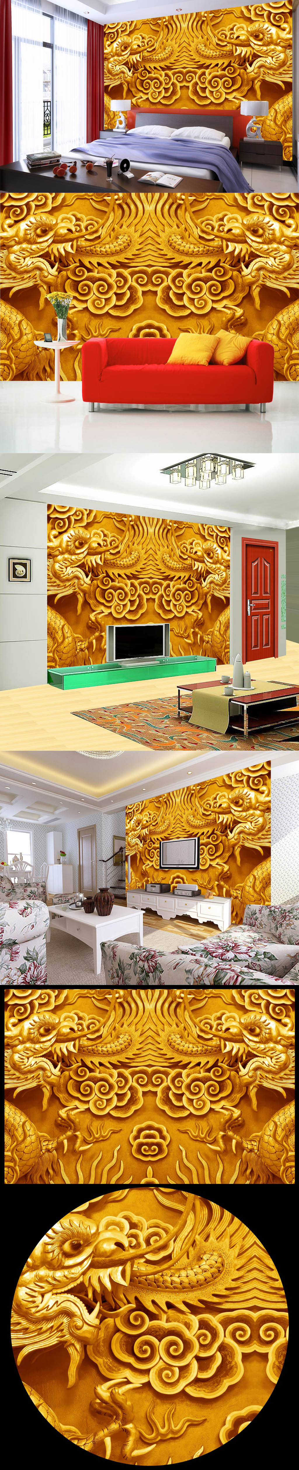 3d木雕双龙图背景墙图片