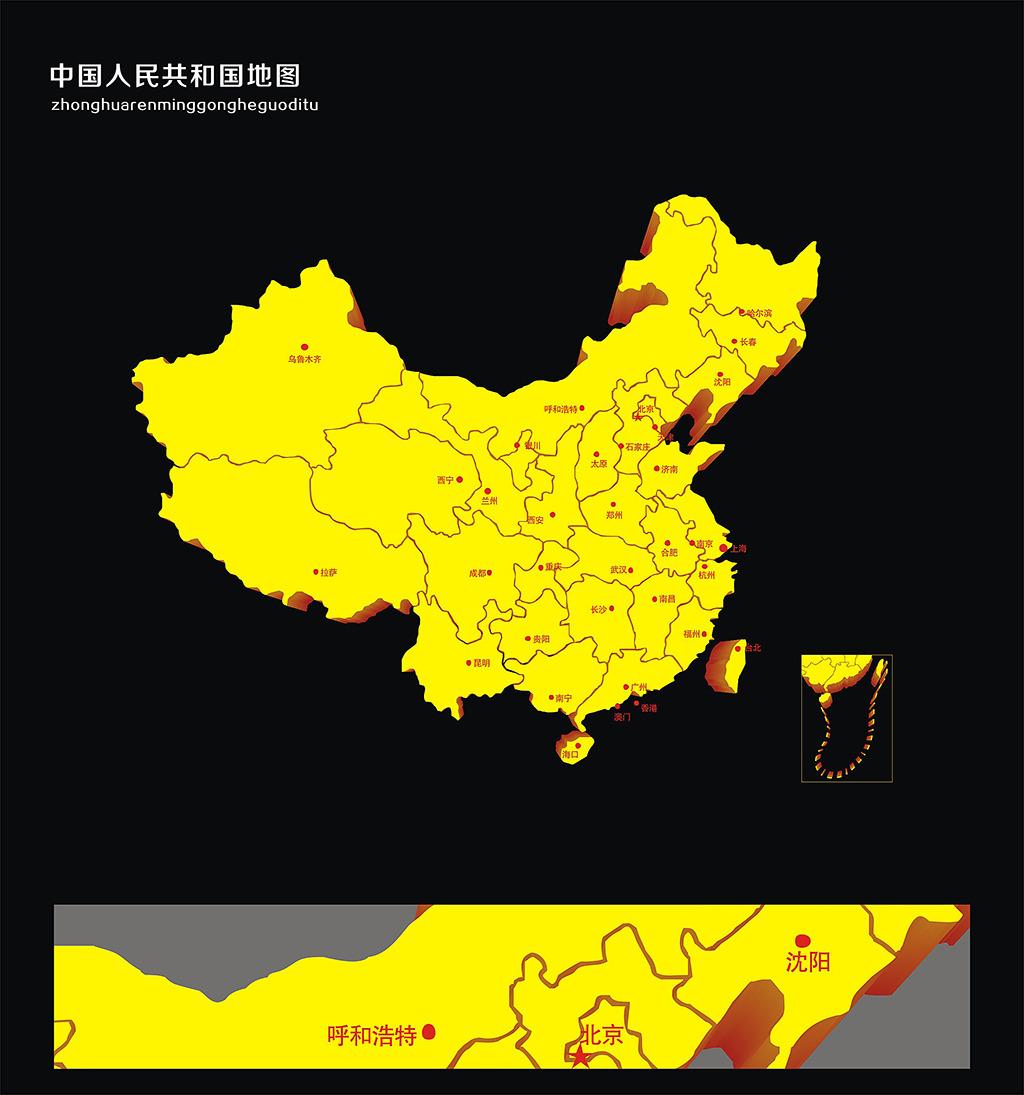 中国地图矢量图模板下载(图片编号:12618707)