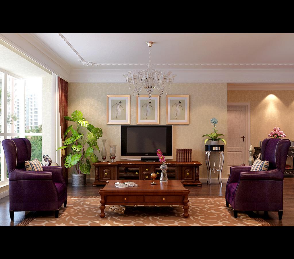 美式别墅欧式风格3d室内装修模型