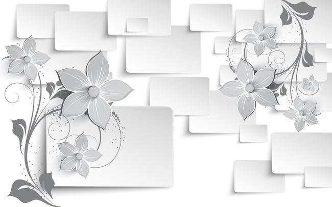现代 简约 电视墙 浪漫 时尚 玫瑰 茶花 方格 方块 花卉 灰色 现代