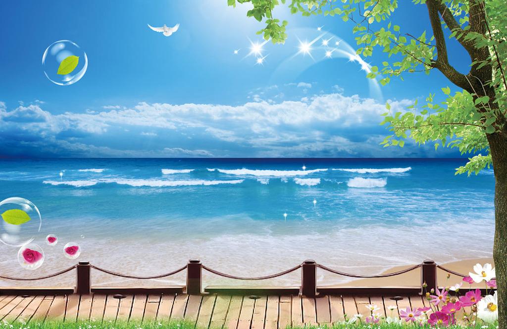 背景墙|装饰画 壁画 风景壁画 > 木桥海滩风景  下一张&gt