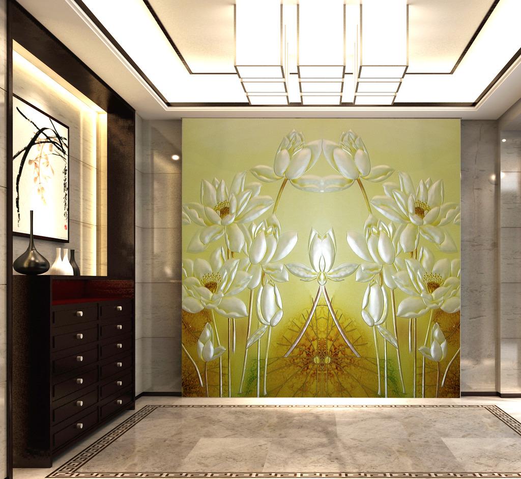 荷花艺术玻璃彩雕玄关装饰画图片