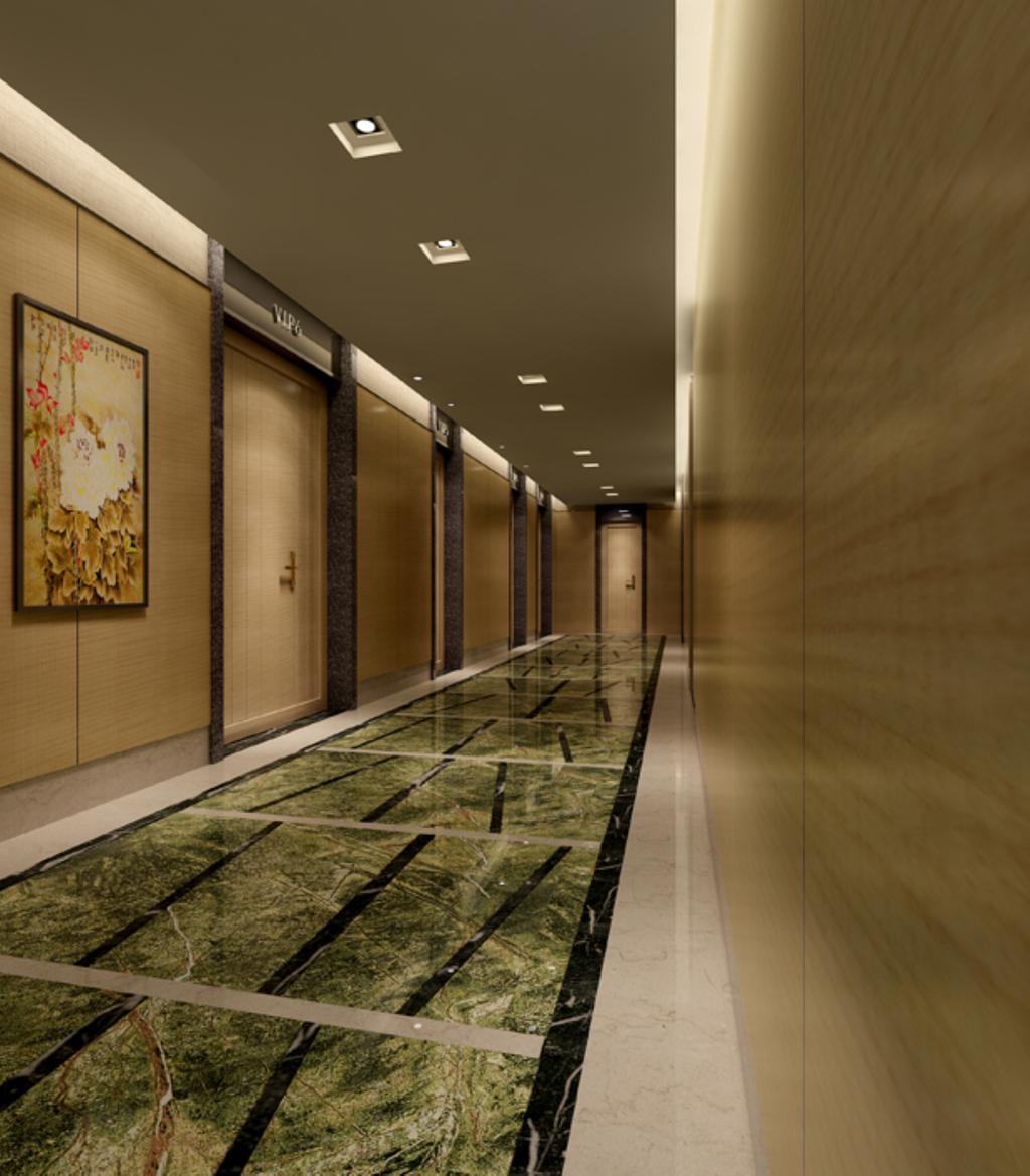 走廊3d效果图模型工装酒店空间图片下载 木饰板墙面中式挂画大理石图片